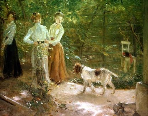View of the artist's garden with his daughters, 1903