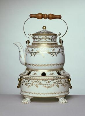 Louis XVI porcelain kettle and stand made in Paris, c.1775-91