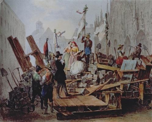 Barricades in the Stephansplatz, Vienna, 1848