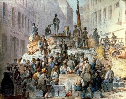 Barricades in Marzstrasse, Vienna, 1848