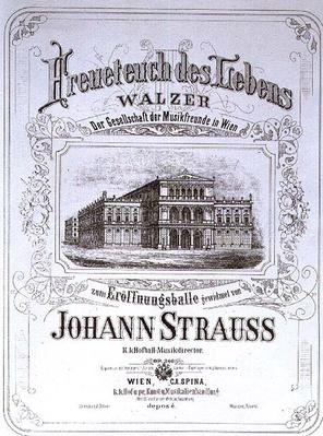 Poster advertising 'Freueteuch des Lebens', a waltz by Johann Strauss the Younger to be introduced at an Inaugural ball, 1870