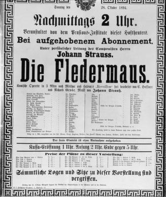 Poster advertising 'Die Fledermaus' by Johann Strauss the Younger, for a performance at the Vienna State Opera House, 28th October 1894