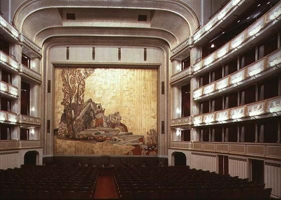 Auditorium of the Viennese State Opera House showing a scene from 'Orpheus', destroyed in 1945, rebuilt and opened again in 1955