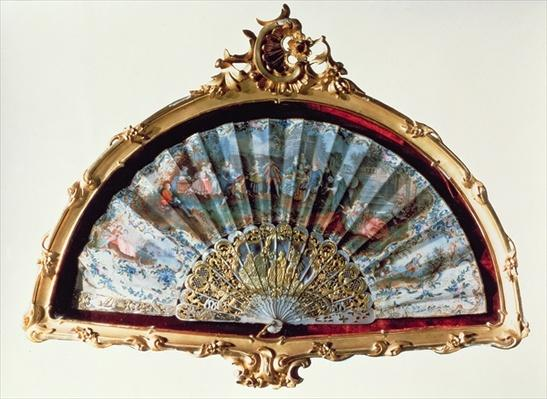 Fan, decorated with a scene of a fete champetre, belonging to Empress Elisabeth