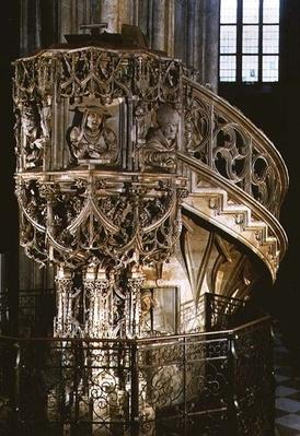 Pilgram's Pulpit', decorated with busts of the Four Fathers of the Church