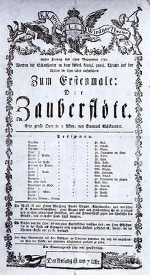 Poster advertising the premiere of `The Magic Flute' by Wolfgang Amadeus Mozart at the Freihaustheater