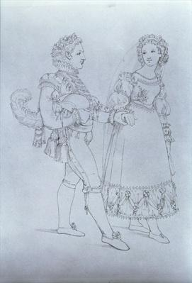 Costume designs for Figaro and Susanna from the opera 'The Marriage of Figaro' by Wolfgang Amadeus Mozart
