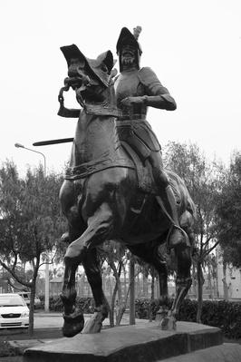 Low angle view of a Francisco Pizarro statue, Lima, Peru | Famous Explorers