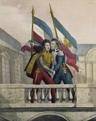 The Duke of Orleans embracing General La Fayette and raising the national colours on the terrace of the Palais-Royal, 30th July 1830