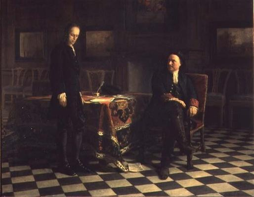 Peter I interrogating Tsetarevitch Aleksei Petrovich in Petershof, 1871