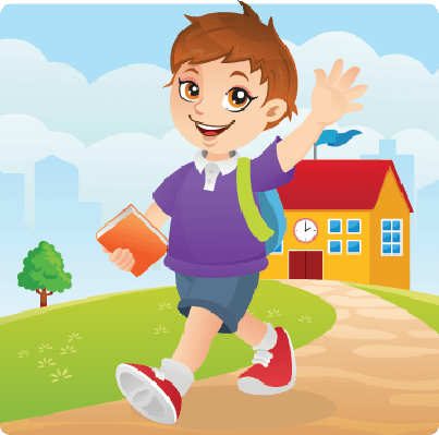 Cute Boy Going To School Happily | Clipart