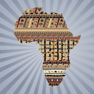 Abstract Silhouette of Africa With Traditional Paintings | Clipart