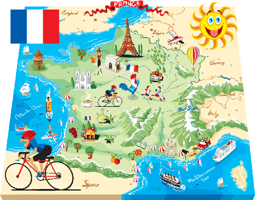 Cartoon map of France | Clipart