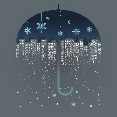 Four Seasons Scenery - City Snow | Clipart