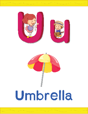 Alphabet Worksheets - U for Umbrella | Clipart