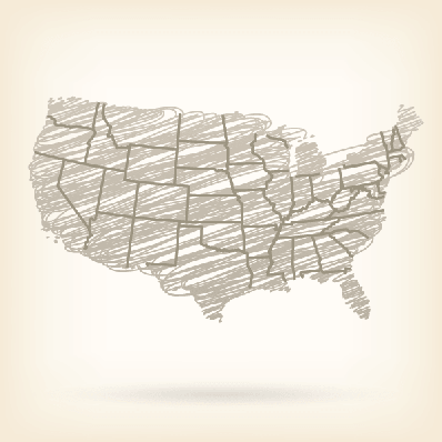 USA Sketched Map | Clipart