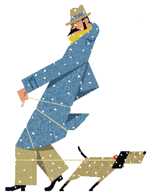 Dog Tugging on Leash Wrapped Round Man in Snow | Clipart
