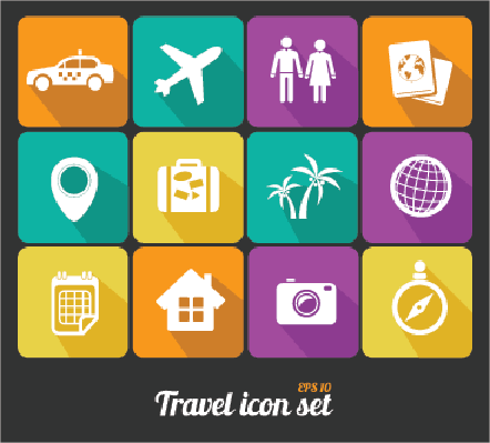 Travel Icons Set   Clipart