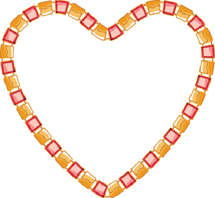 Heart of Golden Chain With Square Segments and Red Gemstones | Clipart