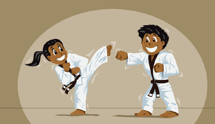 Children Practicing Martial Arts | Clipart