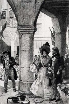 Emma Bovary walking with a companion from 'Madame Bovary' by Gustave Flaubert, engraved by Carlo Chessa by Richemont, Alfred Paul Marie (1857-1911)