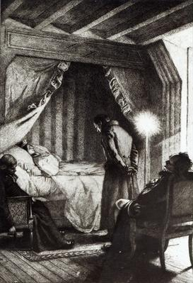 The Death of Emma Bovary from 'Madame Bovary' by Gustave Flaubert, engraved by Carlo Chessa