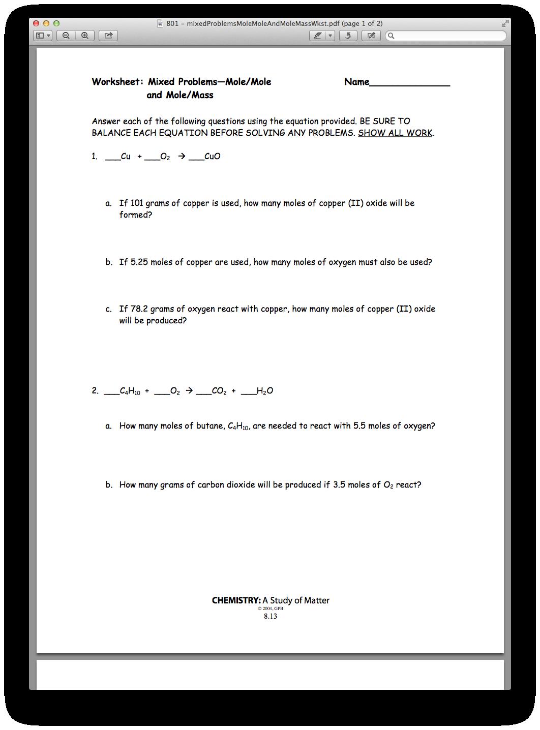 Chemistry Chapter 08, Lesson 01 - Mole/Mole and Mole/Mass