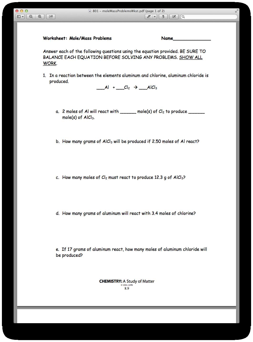 Chemistry Chapter 08, Lesson 01 - Mole/Mole and Mole/Mass ...