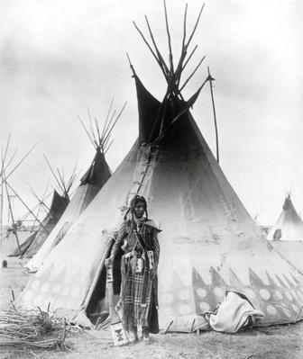 Blackfoot Brave, near Calgary, Alberta, 1889 (b/w photo) | Native American Civilizations | U.S. History