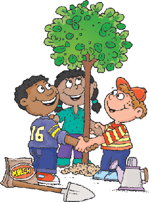 Three Children Planting A Tree | Clipart