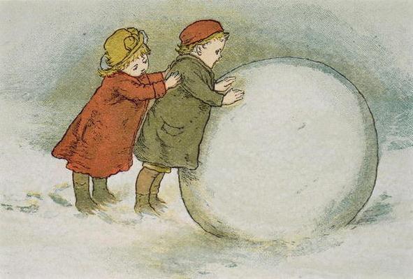 Children Rolling Snowballs