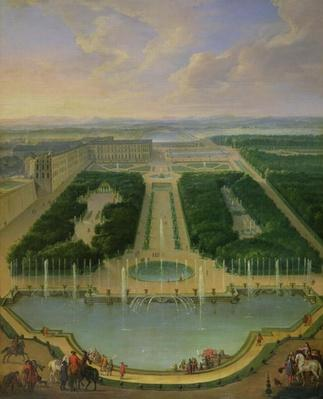 Perspective view of the chateau of Versailles seen from the Neptune Fountain, 1696