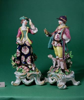 Pair of Bow figures of a Sportsman and his Companion, c.1760