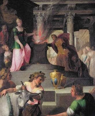 Hyante and Climene offering a sacrifice to Venus, from 'La Franciade' by Pierre de Ronsard