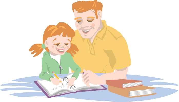 Dad Helping His Daughter With Homework | Clipart