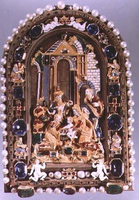 The Adoration of the Kings, relief plaque framed with miniature figures of the four Evangelists and putti alternating with sapphires, from Munich