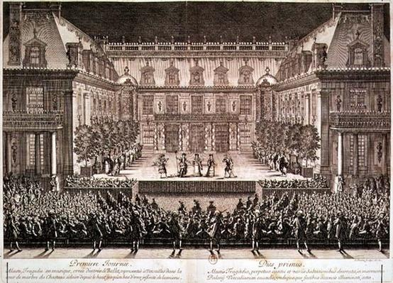 Performance of the opera 'Alceste', performed in the Marble Courtyard at the Chateau de Versailles, engraved by Antoine Le Pautre