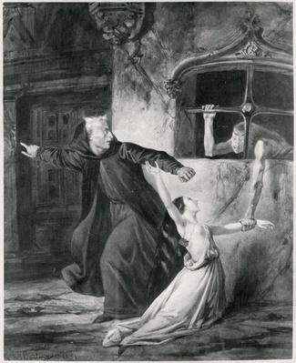 Sachette, Esmeralda and Claude Frollo, illustration to 'The Hunchback of Notre Dame' by Victor Hugo