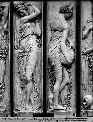 Detail of reliefs from the Fountain of the Innocents depicting nymphs personifying the rivers of France