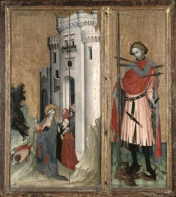 St. Andrew Chasing Demons from the Town of Nicaea and St. Sebastian, right hand panel of the Thouzon altarpiece, School of Provence