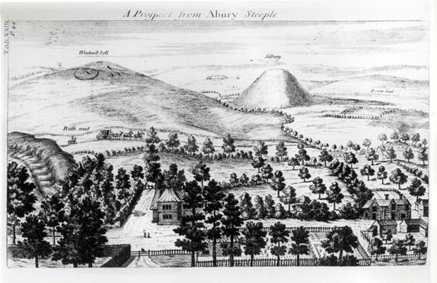 View from Avebury steeple of Silbury Hill, illustration from 'Stonehenge: a Temple Restored to the British Druids' by William Stukeley, 1740
