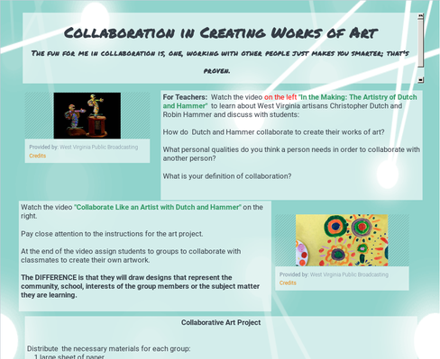 STEAM Power WV: 6-8 -  Collaboration in Creating Works of Art