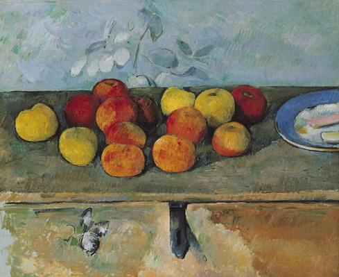 Still life of apples and biscuits, 1880-82