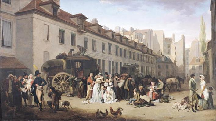 The Arrival of a Stagecoach at the Terminus, rue Notre-Dame-des-Victoires, Paris, 1803