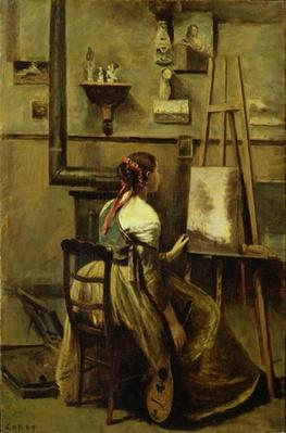 The Studio of Corot, or Young woman seated before an Easel, 1868-70