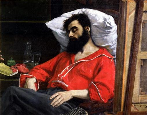 The Convalescent, or The Wounded Man, detail cut by the artist from 'The Visit to the Convalescent', c.1860