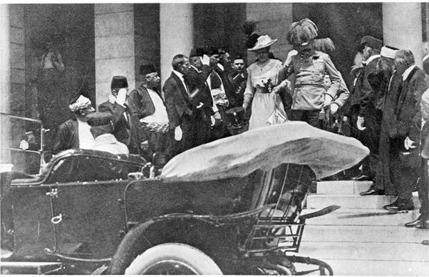 Photograph of the Archduke and Duchess leaving the Town Hall, a few minutes before their deaths on 28th June 1914, 1914