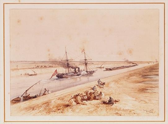 A Turkish Paddle Steamer Going Up the Suez Canal, from a souvenir album to commemorate the Voyage of Empress Eugenie