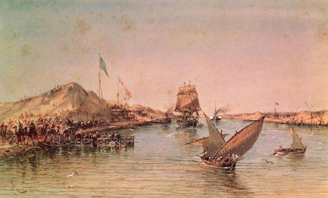 Shipping on the Suez Canal, from a souvenir album commemorating the Voyage of Empress Eugenie