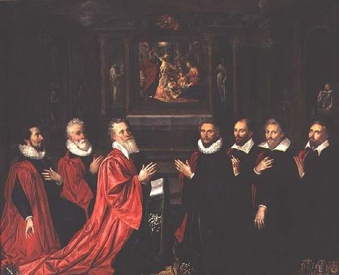 The Corps de Ville praying before an altarpiece of the Nativity, 1614